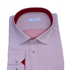 Camasa clasica cu maneca lunga si model rosu pe fond alb