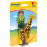 Figurina Ingrijitor Zoo cu Girafa - 1.2.3, Playmobil