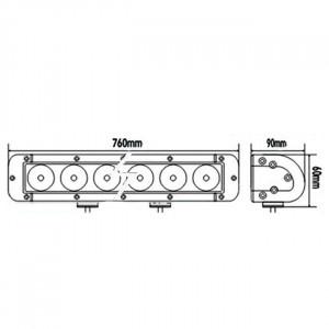 Bara proiectoare LED Auto Offroad 180W/12V-24V, 15300 Lumeni, 30″/76 cm, Combo Beam 12/60 Grade cu Leduri CREE XBD