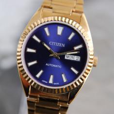 Ceas Citizen automatic,auriu,cadran albastru - barbatesc, Casual, Mecanic-Automatic, Otel