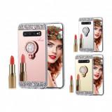 Husa oglinda cu pietricele si inel Samsung S10 / S10e / S10+ / S10 Plus / S10 5G, Alt model telefon Samsung, Argintiu, Auriu, Roz, Silicon