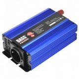 Invertor tensiune, Bass BS-5009, 12V DC/230V AC, 300/600 W, USB, sinus pur