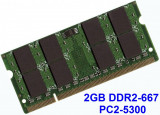 2GB DDR2-667 PC2-5300 667MHz , Memorie LAPTOP DDR2 , Testata cu Memtest86+, 2 GB