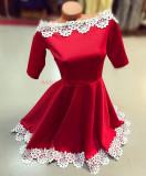 Rochie ocazie eleganta rosie cu umeri goi si dantela