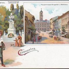 SV * BUCOVINA *  LITHO  CERNAUTI  1899  * STRADA PRINCIPALA * PIATA * PRIMARIA, Circulata, Necirculata, Fotografie, Printata
