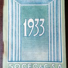 Calendar de buzunar Socec 1933 10x6