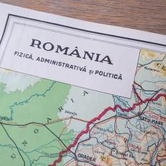 Romania, harta fizica,administrativa si politica, 1930