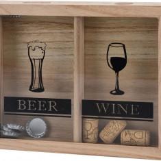 Separator din Lemn Natur pentru Capace de Bere si Dopuri Sticle de Vin Patrata cu Agatatoare Decoratiune stil modern NAGO 25 x 21 x 4 cm Natur