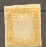 Italy Sardinia 1855 King Viktor Emanuel II 80c Mi.14b orange MH AM.353, Nestampilat