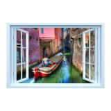 Sticker decorativ efect 3D, 130 x 85cm, gondola canal Venetia