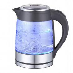 Cană fierbător electrică cu leduri albastre, Hausberg, 2200 W, capacitate 1,8 litri, bază din inox