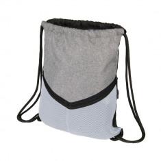 Saculet sport cu snur, poliester 600D, Everestus, 8IA19091, alb, eticheta de bagaj inclusa