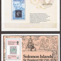 MAURITIUS,SOLOMON ISLANDS PERSONALITATI ROWLAND HILL ( 2 colite dt. ) MNH