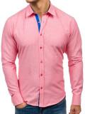 Cămașă pentru bărbat cu print decorativ și mâneca lungă roz Bolf 6887
