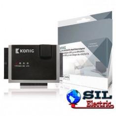 Adaptor Hard Disk IDE + SATA, negru/gri, Konig