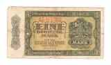 Bancnota Germania de Est (DDR), 1 mark/marca 1948, circulata, uzata, rara