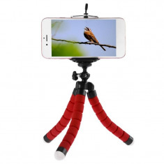 Suport Mini Trepied Flexibil Multifunctional pentru Telefon sau Camera Video, Rosu, M-Life