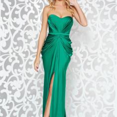 Cumpara ieftin Rochie Ana Radu verde de lux din material satinat cu umeri goi cu push-up accesorizata cu cordon