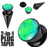 Expander 2-in-1 și plug de culoare neagră - negru și verde - Lățime: 3 mm