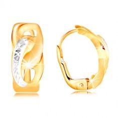 Cercei din aur 585 - două ovale unite, cu crestături mici