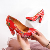 Pantofi dama Maki rosii cu imprimeu floral eleganti