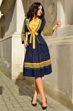 Compleu Venezia bleumarin cu galben si broderie florala