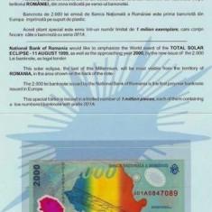 Romania 2000 lei Eclipsa in folder BNR  UNC