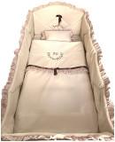 Lenjerie de pat bebelusi brodata Fii binecuvantat ingeras 140x70 cm bej, Deseda