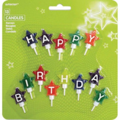 Lumanari Jumbo Stelute Colorate Happy Birthday set 13 buc