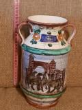Vaza ceramica DERUTA ITALIA PICTURA semnata manufactura - antichitati