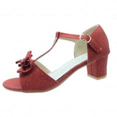 Sandale elegante cu toc fetite MRS M1308RO, Rosu