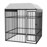 Padoc de exterior pentru câini, durabil, cu acoperiș, 2 x 2 m