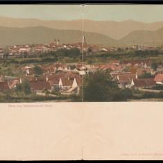 1901 Romania CP dubla litho Hammersdorf Gusterita, Vedere din Hammersdorfer Berg, Circulata, Printata, Sibiu