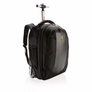 Rucsac troler elegant si functional, Swiss Peak by AleXer, BK, poliester, pu, negru, breloc inclus din piele ecologica si metal