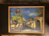 Tablou,pictura in pastel,peisaj citadin, Peisaje, Altul