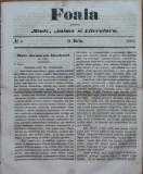 Foaia pentru minte , inima si literatura , nr. 9 , 1863 , Brasov , I. Muresanu
