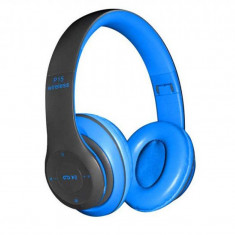 Casti audio bluetooth P47, 10 m, radio, suport card SD, microfon, Albastru/Negru