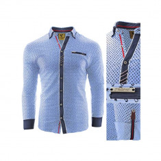 Camasa pentru barbati, flex fit, albastru deschis, casual, cu guler - sedna zenith II