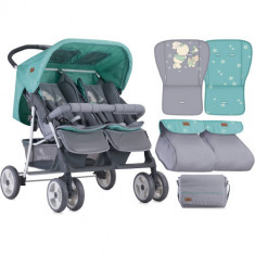 Carucior Gemeni Twin 2018 Grey & Green Bunnies
