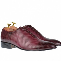 Pantofi barbati eleganti din piele naturala bordo - 026VIS