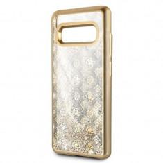 Husa de protectie, Guess Peony Liquid Glitter, Samsung Galaxy S10 Plus, Auriu