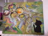 Tablou abstract Boy&bubbles, Nonfigurativ, Acrilic