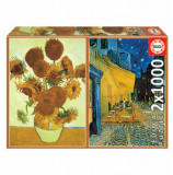 Cumpara ieftin Puzzle Los Girasoles + Terraza De Cafe Por La Noche, V. Van Gogh, 2 x 1000 piese, Educa
