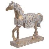 Cal decor din rasina auriu 18cm x 6cm x 22.5cm