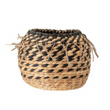 Cumpara ieftin Cos pentru depozitare din zambila de apa, Egor Natural / Negru, Ø29xH23,5 cm