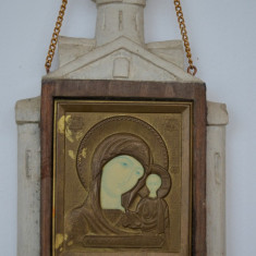 Icoana veche sculptata Rusia  / Icoana veche sfintita pe lemn si alama aurita