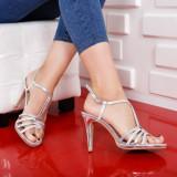 Sandale Felida argintii elegante