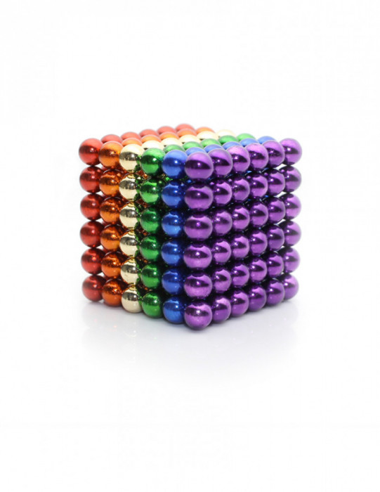 Neocube 216 bile magnetice 5mm, joc puzzle, multicolor, 6 culori