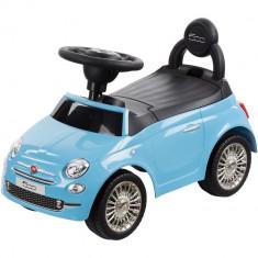Masinuta fara pedale, cu spatar, volan cu sunete Fiat 500 - Sun Baby - Albastru