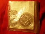 Set Monetarie- FAO -50 Ani :moneda 100 lei argint 27,5g in caseta + 2 monede 10